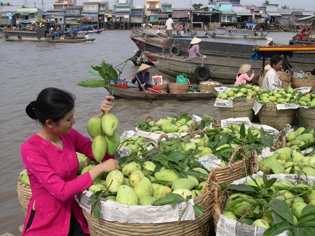 Graceful Vietnamese seller on boat