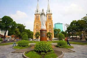 The Notre Dame Cathedral in Ho Chi Minh City with peaceful landscape