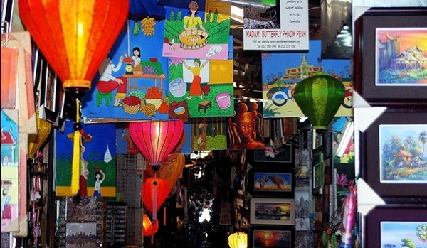 Colorful alleyway with artistic pictures in the Russian Market