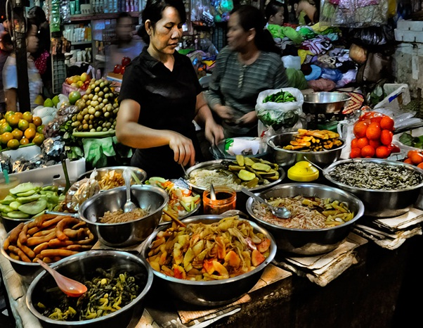 The Cambodian cuisine in the Russian Market