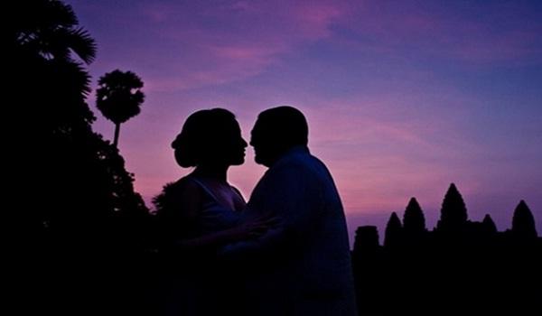 Happy honeymoon in sunset