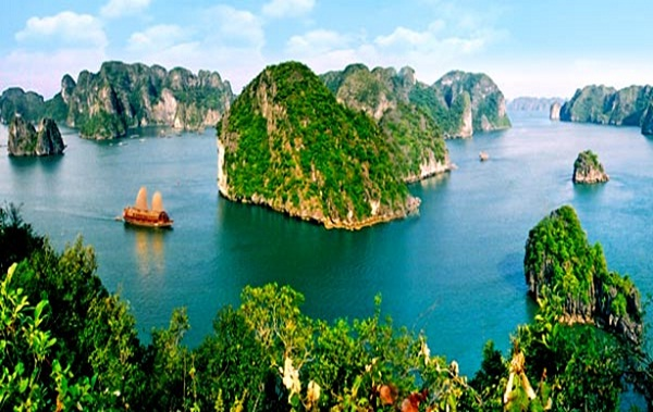 Halong Bay is famous for surreal-looking limestone islands and spectacular sandy bays