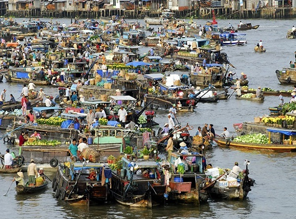Mekong Delta is famous for floating market with variety of tropical fruits and flowers