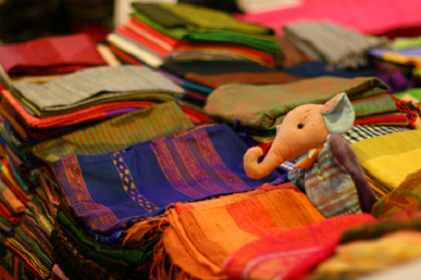 The silk products are sold in the Siem Reap market