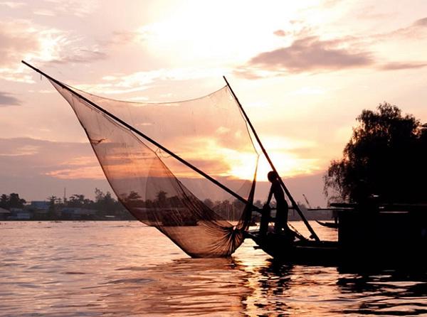 Floating village on Mekong River