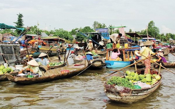 The market is located on Hau River - a tributary of the Mekong River