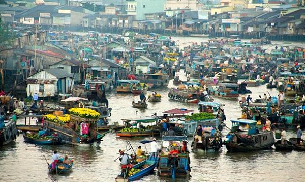 A floating market in Mekong Delta