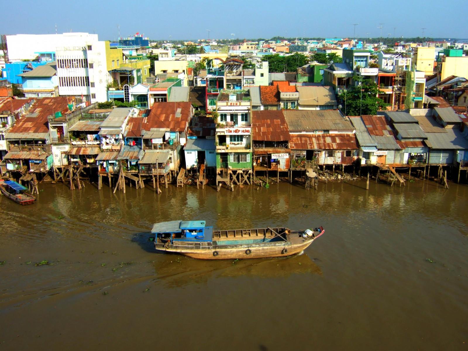 Old stilt houses on the Mekong River