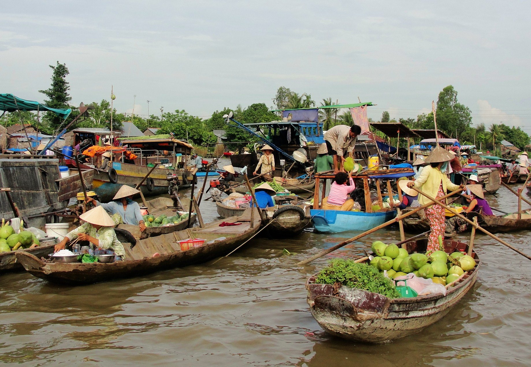 Cai Be floating market on Mekong river