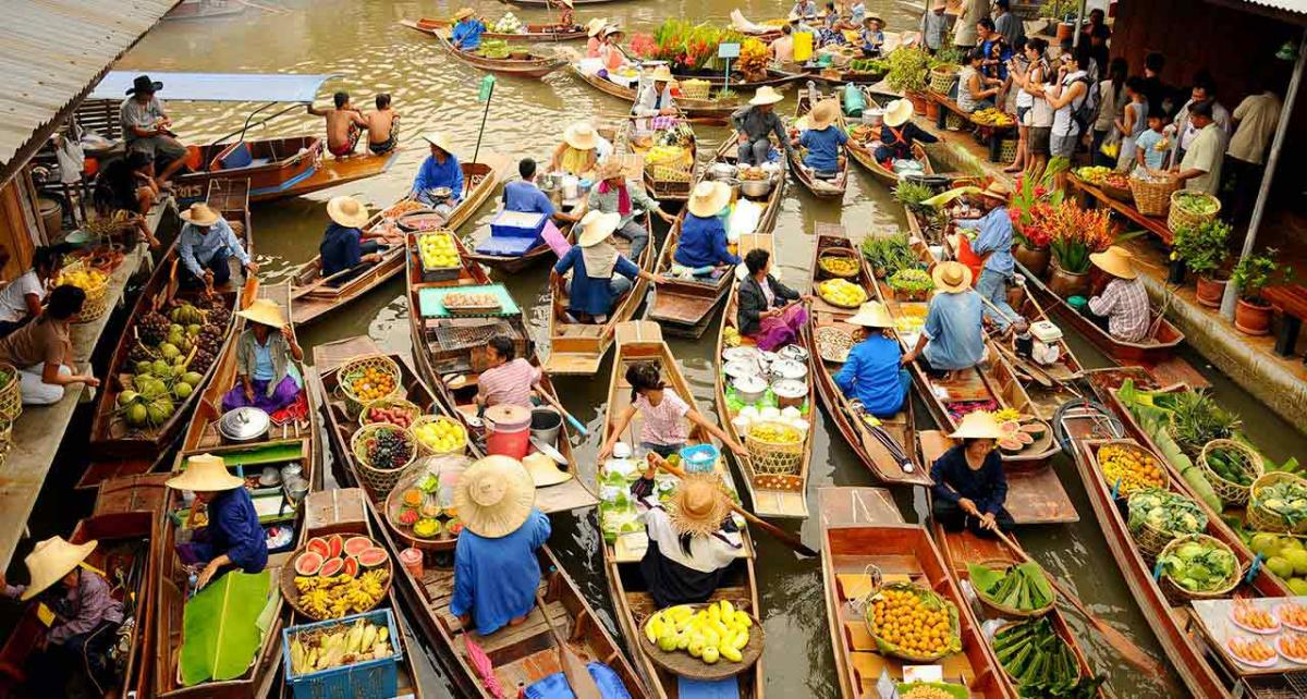 Floating markets in Mekong River