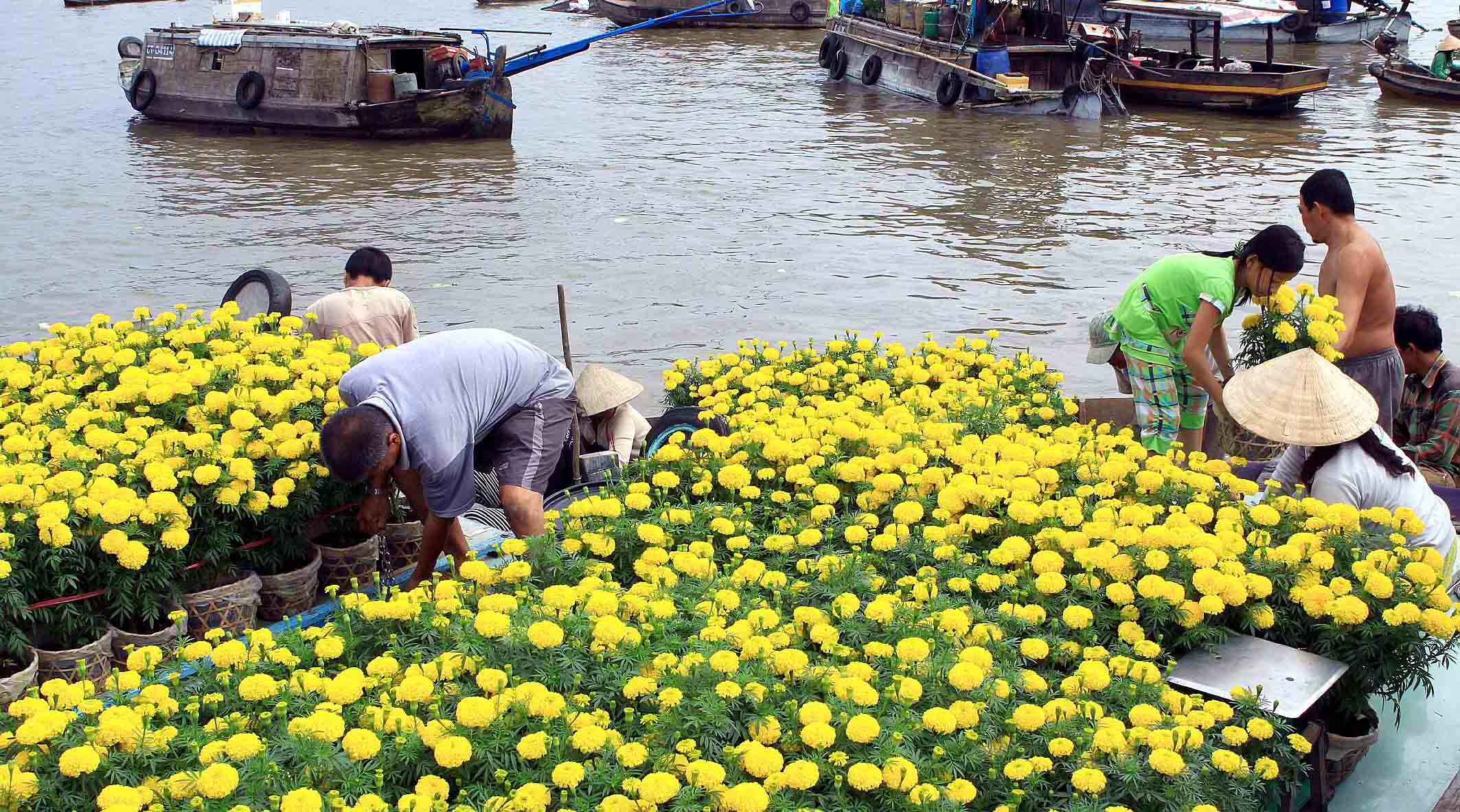 Flower is one of the most popular goods of Cai Be floating market