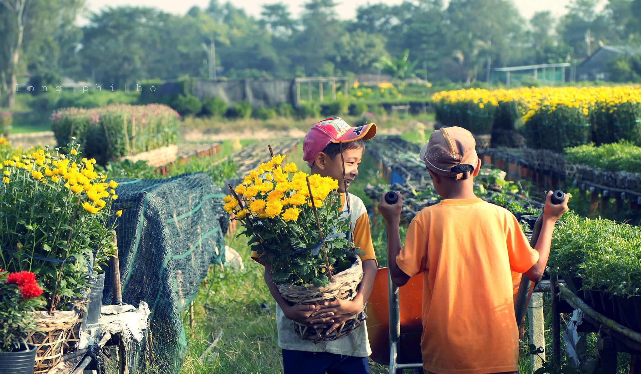 Children help their family take care of flowers in their garden