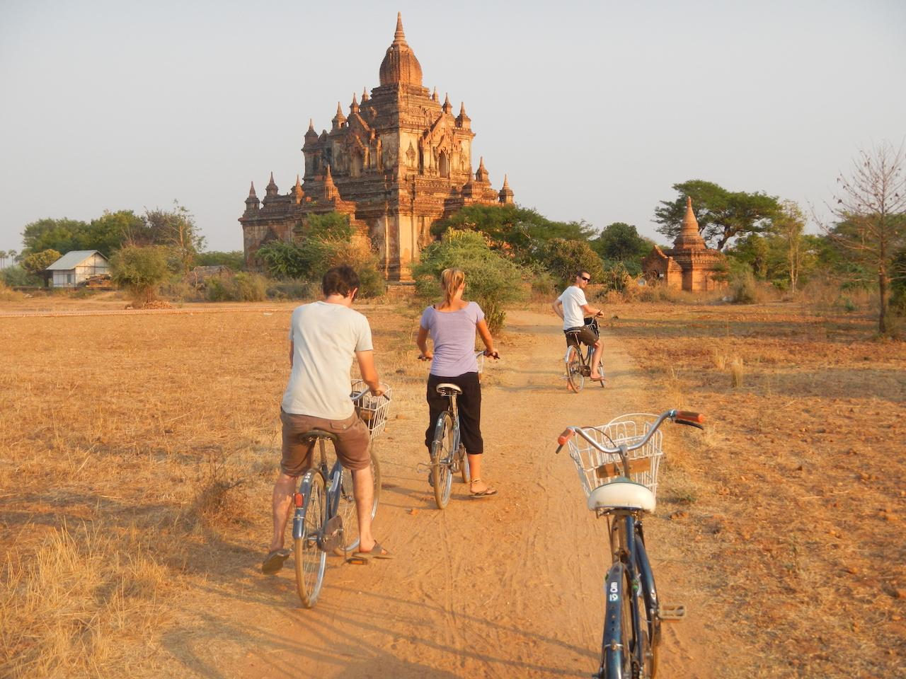Tourists feel excited when cycling to explore Bagan