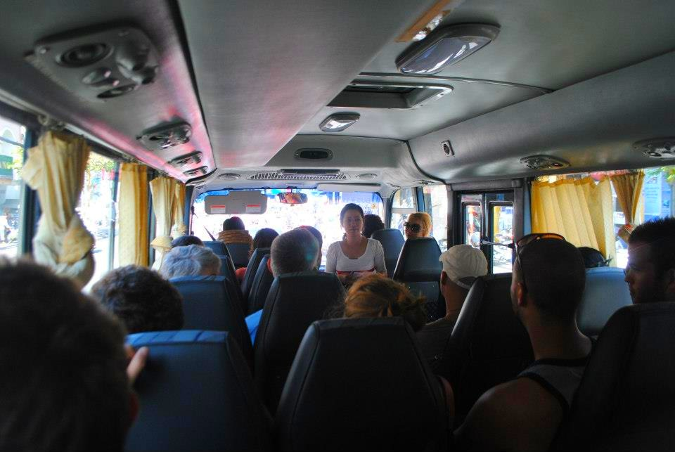 Tourist bus to Cu Chi