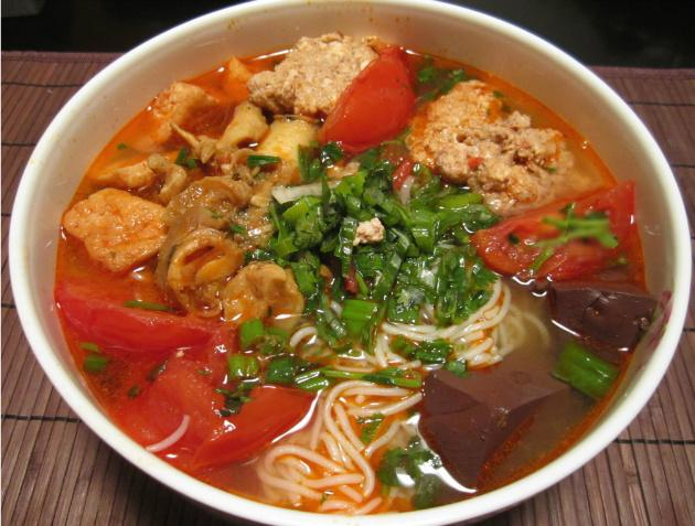 "Full bowl of ""Bun rieu cua oc"""