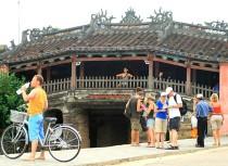 Tourists visited Cau bridge in Hoian