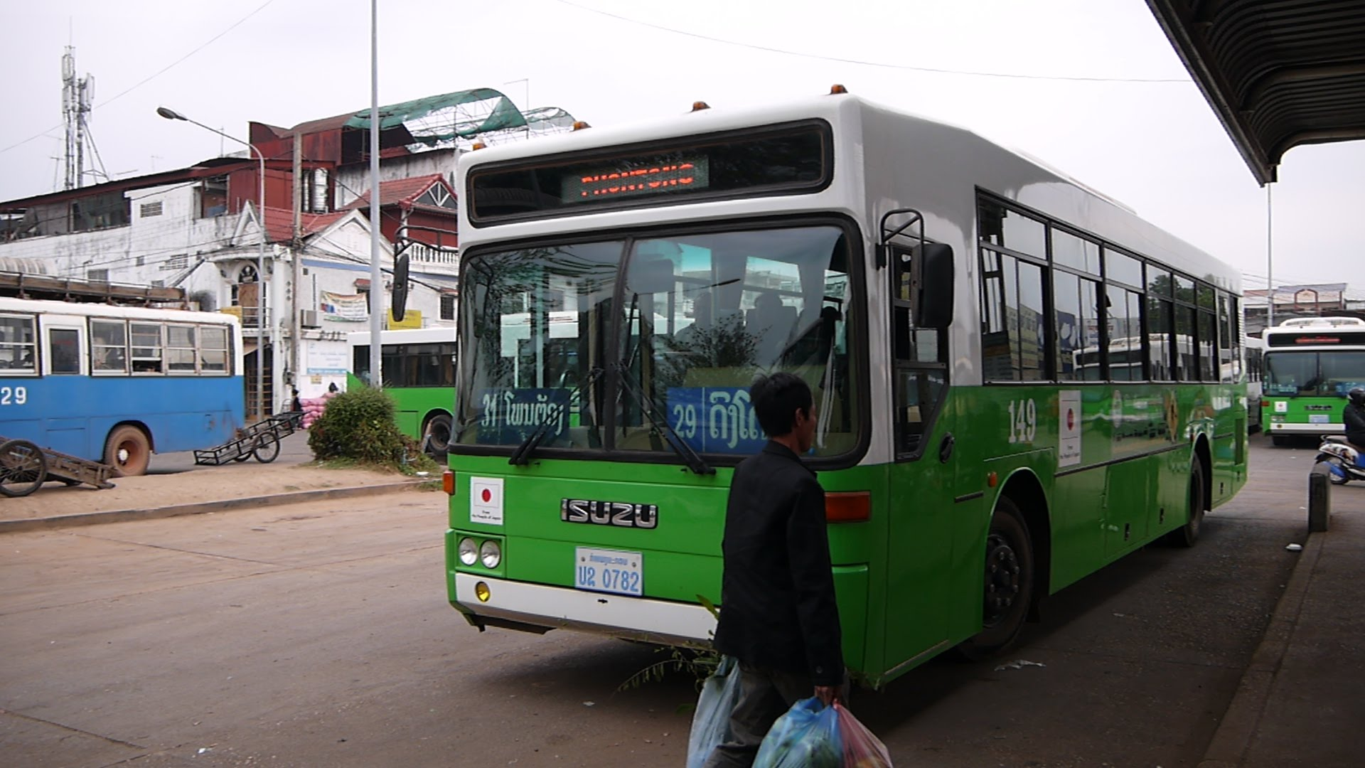 White-green bus in Vientiane