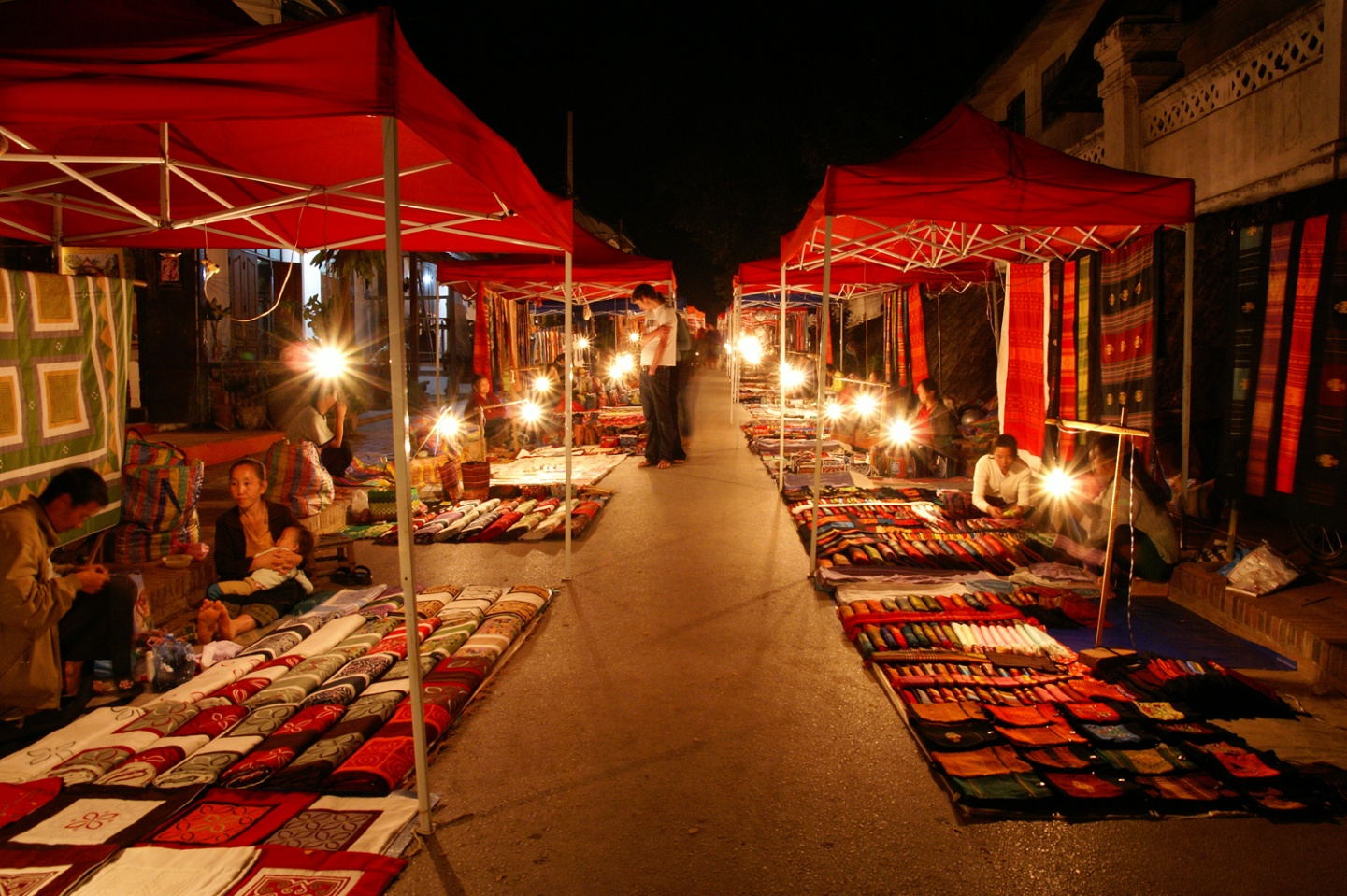 The red-roofed stalls of Vientiane Night Market