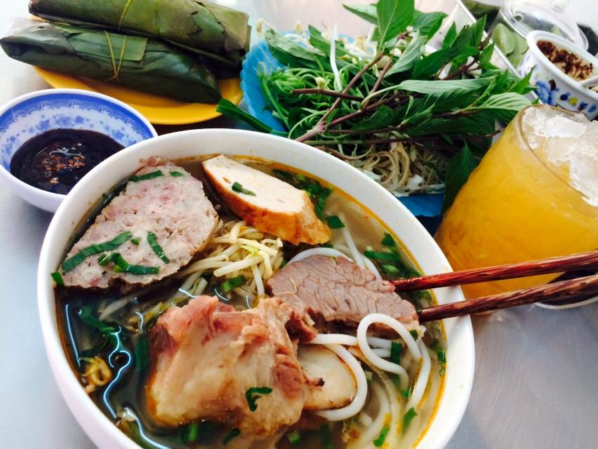 A bowl of Bun Bo Hue at Huynh Chau store, Can Tho
