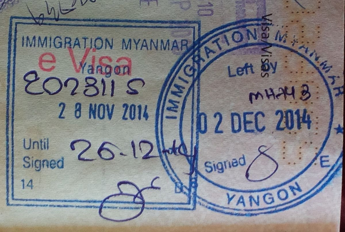 Myanmar passport stamp