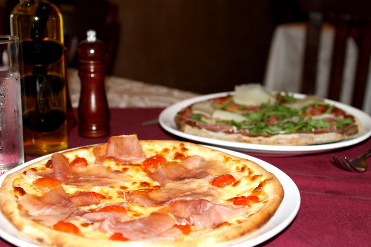 A delicious pizza at La Hostaria Restaurant