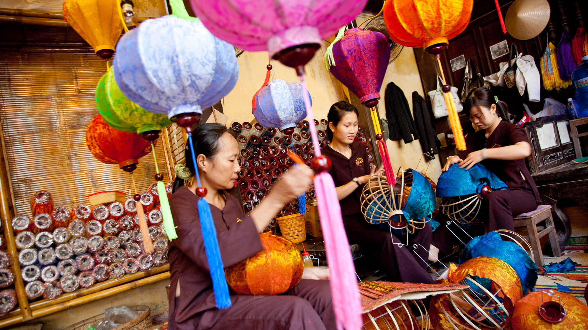Latern making in the central of ancient town Hoi An