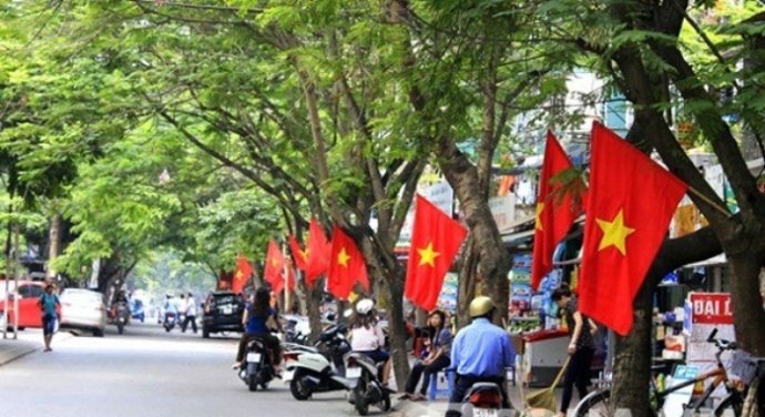 The Vietnamese flags are proudly hung everywhere
