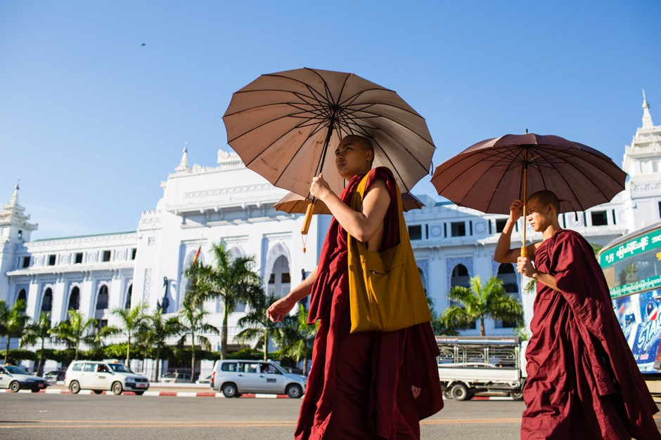 Respecting the monks in Myanmar is one of things to remember when visiting temples
