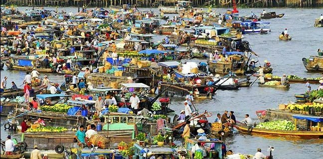 The boats with many sizes anchores in the floating market