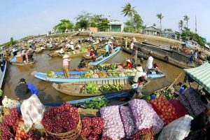 The colorful products are selled in floating market