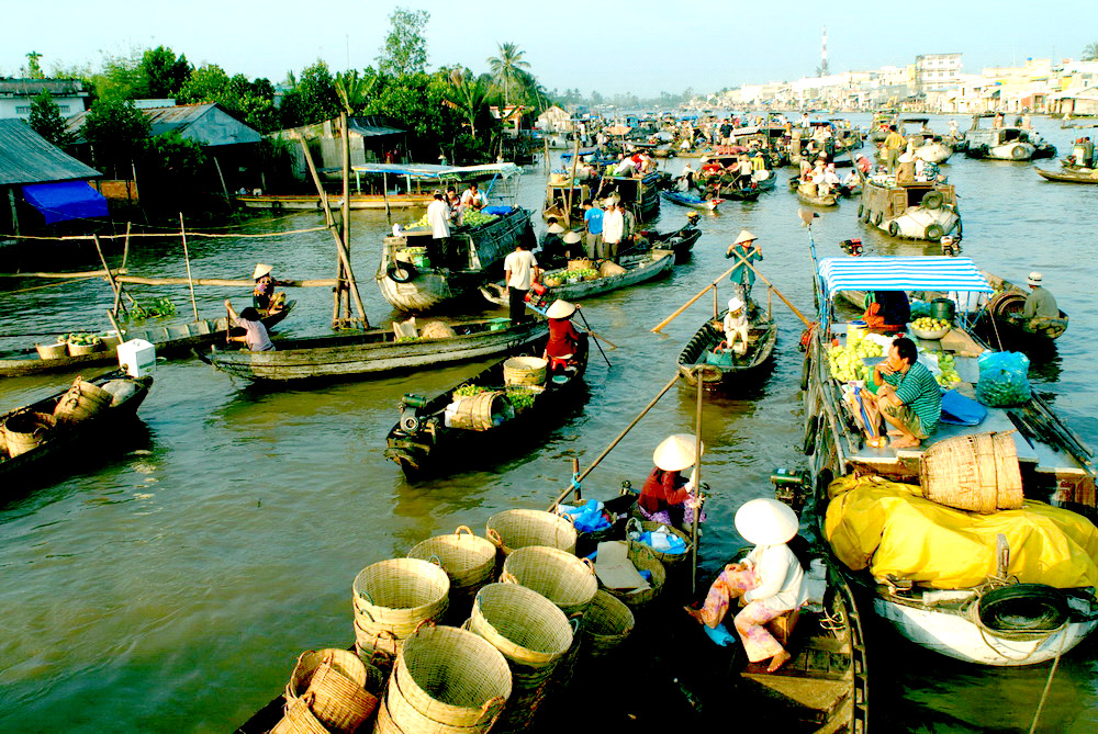 Cai Be is a famous floating market in Mekong delta