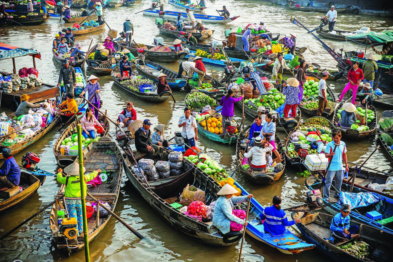 Happy space you can enjoy on Nga Nam floating market in Mekong delta