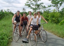 Ride a bike around peaceful village