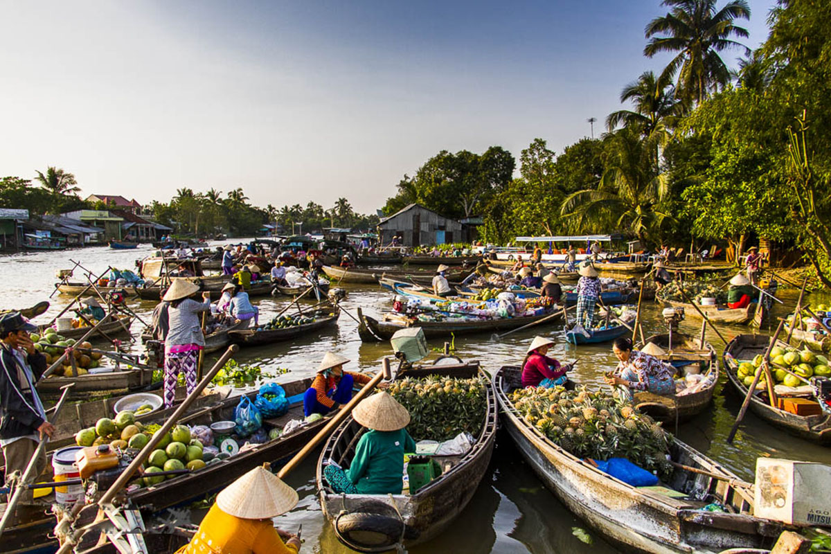 Lively atmosphere of Can Tho floating market