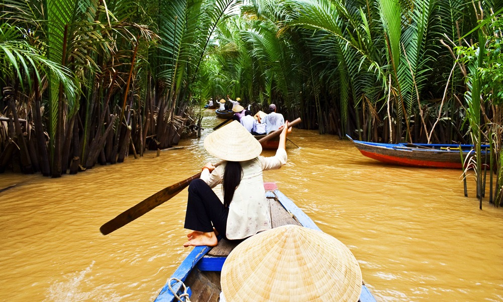 A boat trip on the Mekong River