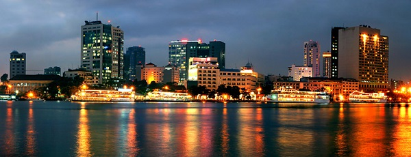 A view of Saigon river at night time