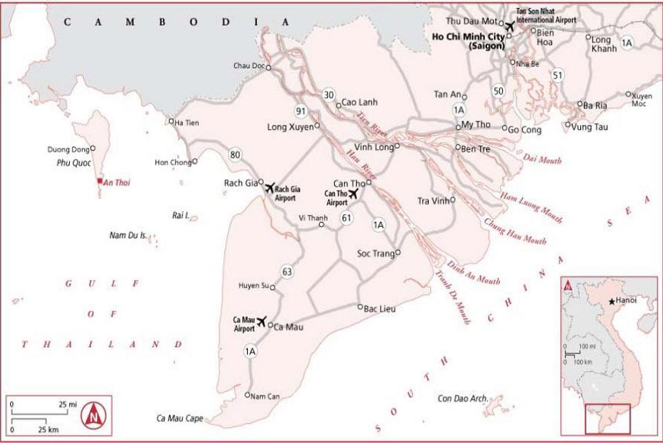 Mekong Delta Vietnam map