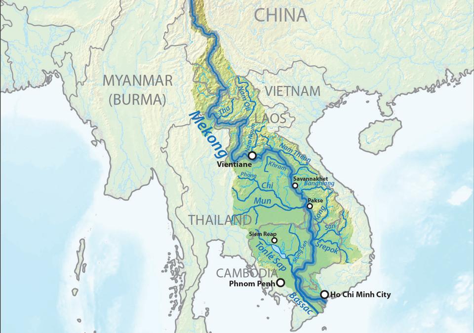 Mekong River on map
